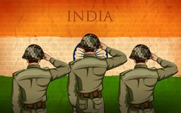 Indian Army soilder saluting falg of India with pride stock illustration