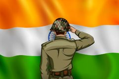 Indian Army soilder saluting falg of India with pride royalty free illustration