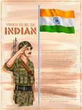 Indian Army soilder saluting flag of India with pride. Illustration of Indian Army soilder saluting flag of India with pride royalty free illustration