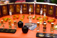 Indian aromatic oil. Photo of Indian aroma oil to the fair sale Royalty Free Stock Photo
