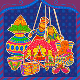 Indian art style Subh Vivah Happy Wedding message Stock Image