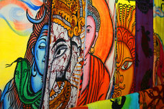 Indian art textile. With hindu gods Stock Image