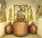 Indian artwork & copper vessels - Jaipur - India Royalty Free Stock Images