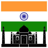 Indian attraction Taj mahal and flag Royalty Free Stock Photo