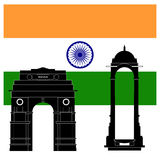 Indian attractions: India gate and flag Royalty Free Stock Photos