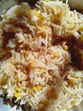 Indian authentic rich Basmati rice pulau. Indian authentic cuisine top view closeup ready to serve ,homemade stock image