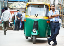 Indian auto rickshaw tut-tuk driver man Stock Images