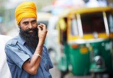 Indian auto rickshaw tut-tuk sikh driver man Royalty Free Stock Photography