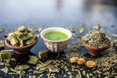 Neem face pack or Ubtan of Neem. Indian Ayurvedic face pack best to cure acnes and pimple along with black heads i.e. Face pack or ubtan of Neem or iilac and stock image