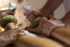 Indian Ayurvedic Foot Massage Stock Photography