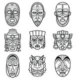 Indian aztec and african historic tribal mask vector set Royalty Free Stock Images