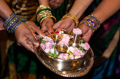 Indian Babyshower. Tradition during Indian Babyshower party royalty free stock photo