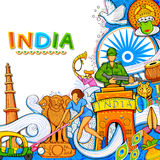 Indian background showing its incredible culture and diversity with monument, dance and festival celebration for 15th. Illustration of Indian background showing Stock Images
