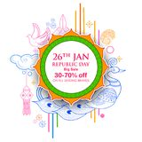 Indian background with tricolor for 26th January Happy Republic Day of India Sale and Promotion Advertisement banner. Illustration of Indian background with Royalty Free Stock Photos