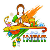 Indian background with woman doing namaste gesture wishing Happy Independence Day of India Stock Photo