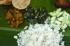 Indian banana leaf meal Royalty Free Stock Photo
