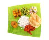 Indian banana leaf rice Stock Photos