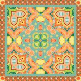 Indian bandana print in green and orange tones with paisley and flowers. 2. Vector illustration royalty free illustration