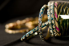 Indian Bangles. Indian Blue Bangles on black background royalty free stock photos