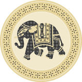 Indian batik style elephant in circle frame Stock Image