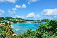 Indian bay beach and blue lagoon panoramic view from the hill in Saint Vincent and the Grenadines