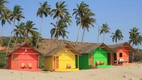 Indian beach houses. Colorful indian beach houses, mandrim beach, Goa India stock photos