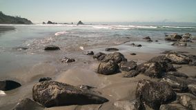 Indian Beach, Oregon dolly shot 4K. UHD. Indian Beach in Ecola State Park, Oregon, United States. 4K UHD stock video