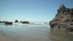 Indian Beach Shore, Oregon dolly shot 4K. UHD. Indian Beach shoreline in Ecola State Park, Oregon, United States. 4K UHD stock footage