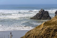 Indian Beach surf and sea Oregon state stock images