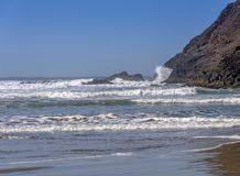 Indian Beach surf and sea Oregon state stock photography