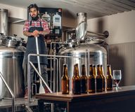 Indianr male manufacturer presenting craft beer in the microbrewery. Indian bearded tattooed hipster male manufacturer presenting craft beer in the microbrewery Royalty Free Stock Photo