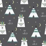 Indian Bears Seamless pattern Royalty Free Stock Images