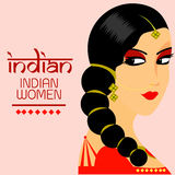 Indian beautiful women long hair With red dress color vector design Royalty Free Stock Images