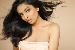 Indian Beauty. Beautiful young asian/indian woman with long hair posing on beige background Stock Photo