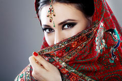 Indian beauty. Face close up beautiful eyes with perfect make up wedding Royalty Free Stock Photography