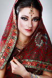 Indian beauty face. Close up beautiful eyes with perfect make up wedding Royalty Free Stock Photos