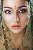 Indian beauty face. Close up perfect make up. Series. young beautiful brunette in traditional national dress Stock Images