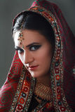 Indian beauty. Face close up, perfect make up. Series. young beautiful brunette in traditional national dress Stock Image