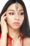 Indian beauty. Face close up perfect make up. Series. young beautiful brunette in traditional national dress Royalty Free Stock Photos