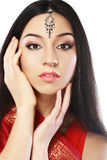 Indian beauty. Face close up perfect make up. Series. young beautiful brunette in traditional national dress Royalty Free Stock Photo
