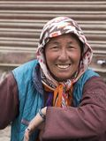 Indian beggar woman on the street in Leh, Ladakh. India Royalty Free Stock Images