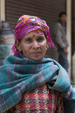 Indian beggar woman on the street in Leh, Ladakh. India Stock Photo
