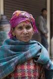 Indian beggar woman on the street in Leh, Ladakh. India Stock Photo