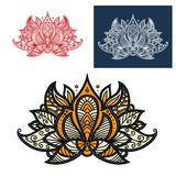 Indian beige, orange and gray paisley flower Royalty Free Stock Images