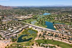 Indian Bend Wash. The Greenbelt at Indian Bend Road viewed from above in Scottsdale, Arizona Royalty Free Stock Photo