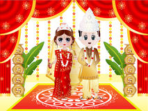 Indian Bengali Wedding. Illustration of an Indian Bengali Wedding with the Bride dressed in Sari and traditional ornaments and the Groom dressed  in Dhoti Royalty Free Stock Photos