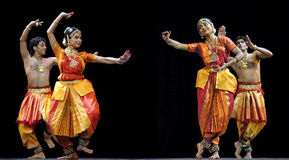 Indian bharatanatyam dancers Royalty Free Stock Photos