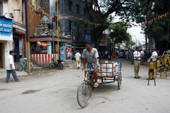 Indian bicycle and policemen on the street Royalty Free Stock Image