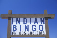 Indian Bingo sign in Northern CA Royalty Free Stock Photography
