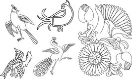 Indian birds and flower motif Stock Image